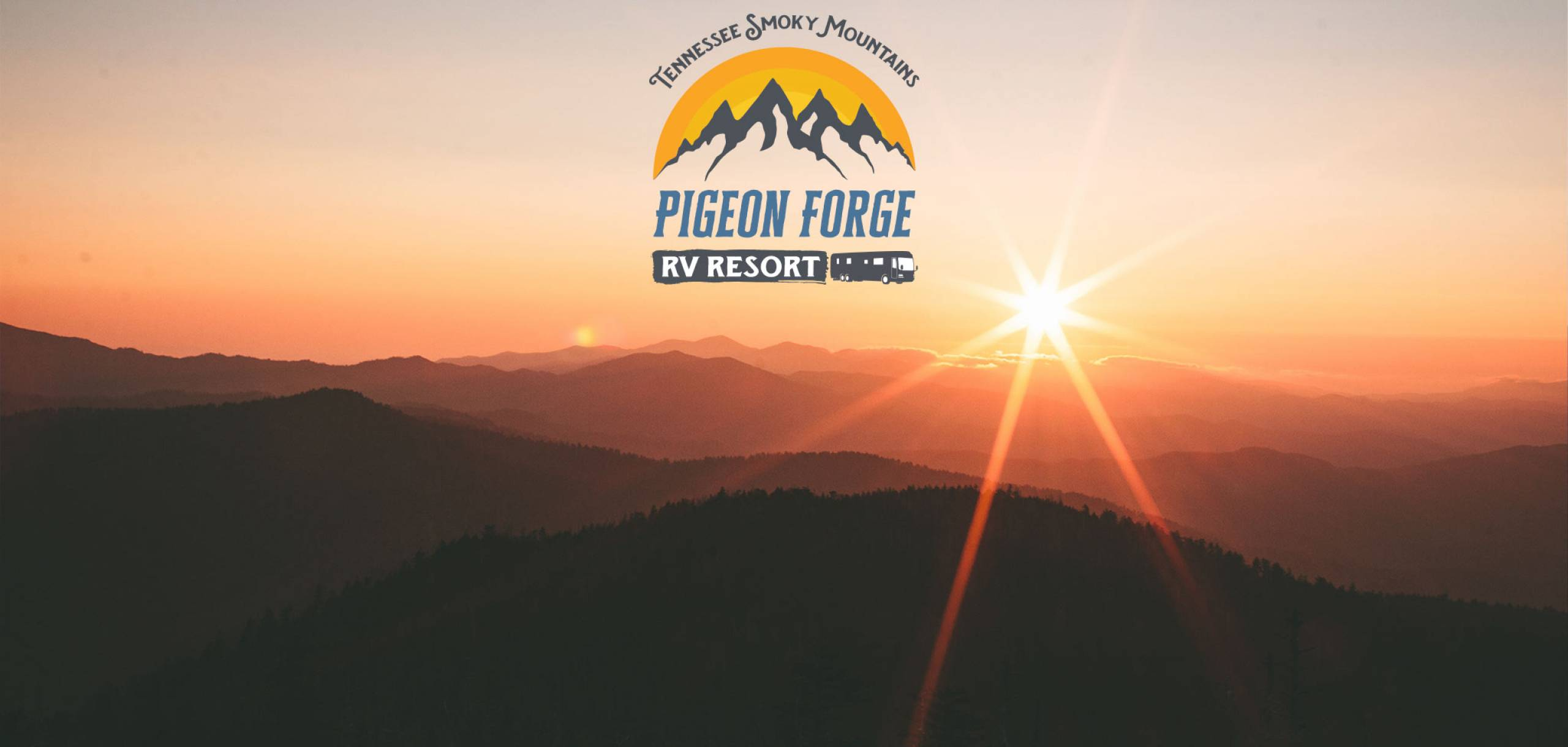 Pigeon Forge RV Resort logo over the Smokies with sunset in the background.